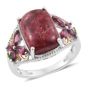 Norwegian Thulite, Russian Diopside, Orissa Rhodolite Garnet 14K YG and Platinum Over Sterling Silver Openwork Ring (Size 7.0) TGW 9.80 cts.