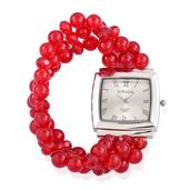STRADA Austrian Crystal Japanese Movement Bracelet Watch with Red Quartzite and Red Glass Triple Strand Band (Stretchable) TGW 130.000 cts.
