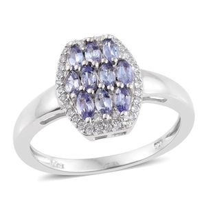 Tanzanite, Cambodian Zircon Platinum Over Sterling Silver Ring (Size 6.0) TGW 1.06 cts.