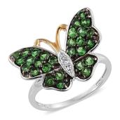 Tsavorite Garnet, Cambodian Zircon 14K YG and Platinum Over Sterling Silver Butterfly Ring (Size 5.0) TGW 1.69 cts.