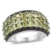 Arizona Peridot, Thai Black Spinel Platinum Over Sterling Silver Ring (Size 10.0) TGW 6.25 cts.