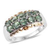 Green Kyanite, Cambodian Zircon 14K YG and Platinum Over Sterling Silver Ring (Size 9.0) TGW 2.66 cts.