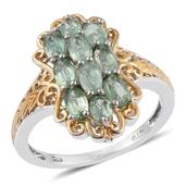 Green Kyanite 14K YG and Platinum Over Sterling Silver Openwork Ring (Size 10.0) TGW 3.25 cts.