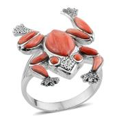 Santa Fe Style Spiny Oyster Shell Red Sterling Silver Frog Ring (Size 8.0) TGW 0.001 cts.