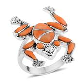 Santa Fe Style Spiny Oyster Shell Orange Sterling Silver Ring (Size 7.0) TGW 0.001 cts.