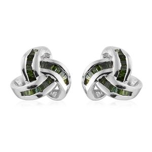 Green Diamond (IR) Platinum Over Sterling Silver Knotted Stud Earrings TDiaWt 0.24 cts, TGW 0.24 cts.