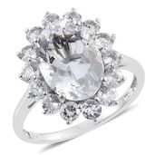 Petalite, White Topaz Platinum Over Sterling Silver Ring (Size 9.0) TGW 6.65 cts.