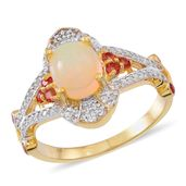Ethiopian Welo Opal, Mozambique Garnet, White Zircon 14K YG Over and Sterling Silver Ring (Size 8.0) TGW 2.94 cts.