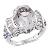 Petalite, Tanzanite, White Topaz Platinum Over Sterling Silver Ring (Size 6.0) TGW 11.19 cts.