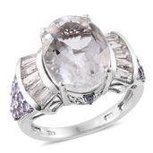 Petalite, Tanzanite, White Topaz Platinum Over Sterling Silver Ring (Size 7.0) TGW 10.350 cts.