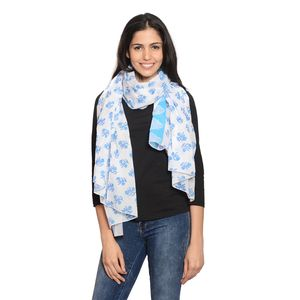 White and Blue Hand Block Printed 100% Cotton Leaf and Flower Scarf (70x44 in)