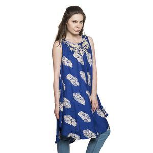 Royal Blue 100% Viscose Leaf Print Tunic/Dress with Embroidered Scoop Neckline (One Size)