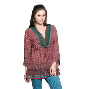 Red 100% Viscose Printed Notched Neck Blouse with Drawstring and Empire Seam Detail (Free Size)