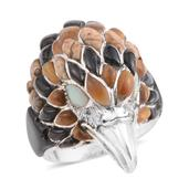Santa Fe Style Multi Gemstone Sterling Silver Men's Eagle Ring (Size 14.0) TGW 2.751 cts.