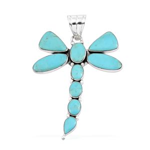 Santa Fe Style Turquoise Sterling Silver Dragonfly Pendant without Chain TGW 10.000 Cts.