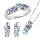 Espirito Santo Aquamarine, Tanzanite Platinum Over Sterling Silver Evening Drizzle Set of Stud Earrings, Bridge Ring (Size 10) and Pendant With Chain (20 in) TGW 2.200 cts.