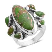 Santa Fe Style Mojave Green Turquoise Sterling Silver Ring (Size 7.0) TGW 2.500 cts.