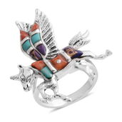 Santa Fe Style Multi Gemstone Sterling Silver Unicorn Split Ring (Size 7.0) TGW 1.90 cts.