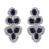 Catalina Iolite, Cambodian Zircon Platinum Over Sterling Silver Dangle Earrings TGW 4.25 cts.