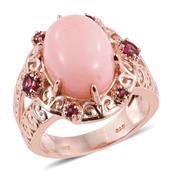 Peruvian Pink Opal, Orissa Rhodolite Garnet 14K RG Over Sterling Silver Split Ring (Size 6.0) TGW 8.95 cts.
