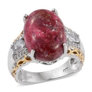 Norwegian Thulite, White Topaz 14K YG and Platinum Over Sterling Silver Ring (Size 7.0) TGW 15.73 cts.