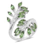 Tsavorite Garnet Platinum Over Sterling Silver Elongated Bypass Ring (Size 8.0) TGW 2.960 cts.