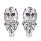 XIA Kunzite, Madagascar Pink Sapphire, Cambodian Zircon Platinum Over Sterling Silver J-Hoop Earrings TGW 4.64 cts.