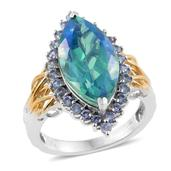 Peacock Quartz, Tanzanite 14K YG and Platinum Over Sterling Silver Ring (Size 7.0) TGW 10.92 cts.