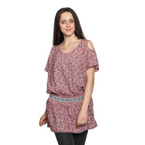 Screen Printed Strawberry Ice Paisley Print 100% Polyester Scoop Neck, Cold Shoulder, Elastic Waistband Plated Tunic (Free Size)