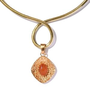 KARIS Collection - Carnelian ION Plated 18K YG Brass Pendant With Necklace (16 in) TGW 5.97 cts.