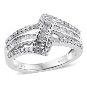 Diamond Platinum Over Sterling Silver Ring (Size 6.0) TDiaWt 0.74 cts, TGW 0.74 cts.