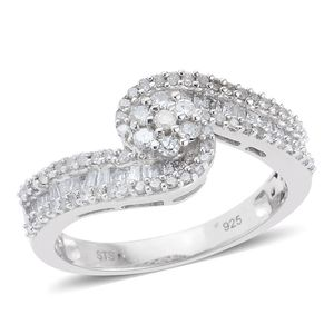 Diamond Platinum Over Sterling Silver Bypass Ring (Size 6.0) TDiaWt 0.72 cts, TGW 0.72 cts.