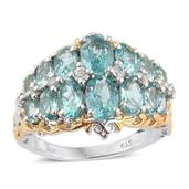 Mint Apatite, White Zircon 14K YG and Platinum Over Sterling Silver Openwork Cluster Ring (Size 7.0) TGW 5.75 cts.