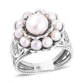 Freshwater Pearl Sterling Silver Ring (Size 6.0) (7.2 g)