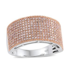 Natural Pink Diamond 14K RG and Platinum Over Sterling Silver Cluster Ring (Size 6.0) TDiaWt 1.00 cts, TGW 1.00 cts.