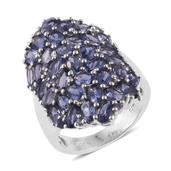 Catalina Iolite Platinum Over Sterling Silver Elongated Cluster Ring (Size 6.0) TGW 6.67 cts.