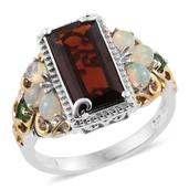 Mozambique Garnet, Ethiopian Welo Opal, Russian Diopside 14K YG and Platinum Over Sterling Silver Ring (Size 7.0) TGW 5.22 cts.