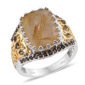 Golden Rutilated Quartz, Brazilian Smoky Quartz 14K YG and Platinum Over Sterling Silver Ring (Size 7.0) TGW 9.56 cts.