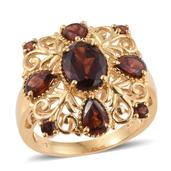 Mozambique Garnet 14K YG Over Sterling Silver Ring (Size 5.0) TGW 5.10 cts.