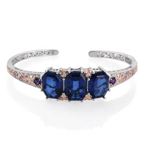 Brazilian Azul Quartz, Multi Gemstone 14K RG and Platinum Over Sterling Silver Cuff (8 in) TGW 35.37 cts.