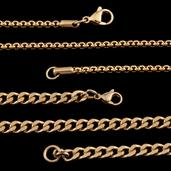 ION Plated YG and Stainless Steel Set of 2 Curb and Box Chains (20 in)
