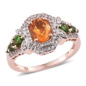 Salamanca Fire Opal, Russian Diopside, White Zircon 14K RG Over Sterling Silver Ring (Size 10.0) TGW 2.02 cts.