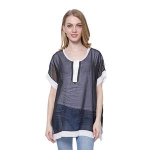 Black 100% Polyester Short Sleeve Sheer Blouse