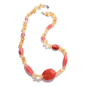 Cherry Quartz, Brazilian Citrine Chips Silvertone and Stainless Steel Necklace (20 in) TGW 113.35 cts.