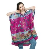 Fuchsia Nature Printed 100% Natural Mulberry Silk Poncho (39x35 in)