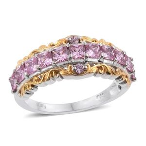 KARIS Collection - Simulated Pink Diamond ION Plated 18K YG and Platinum Bond Brass Ring (Size 7.0) TGW 3.10 cts.