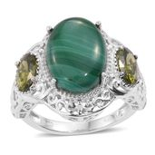 KARIS Collection - African Malachite, Simulated Green Diamond Platinum Bond Brass Ring (Size 8.0) TGW 17.55 cts.