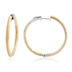 Yellow Diamond (IR) 14K YG and Platinum Over Sterling Silver Inside Out Hoop Earrings TDiaWt 0.50 cts, TGW 0.50 cts.