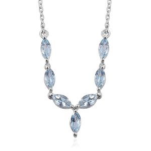 Santa Maria Aquamarine Platinum Over Sterling Silver Princess Necklace (18 in) TGW 1.36 cts.