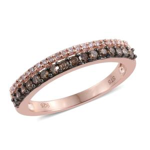 Natural Pink Diamond, Champagne Diamond 14K RG Over Sterling Silver Split Ring (Size 7.0) TDiaWt 0.50 cts, TGW 0.50 cts.